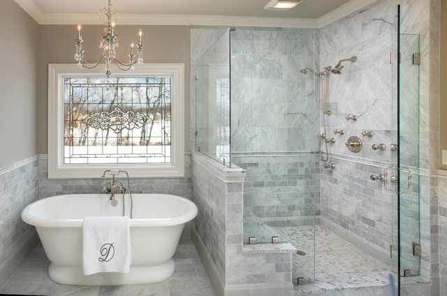 Leaded Glass Windows Bathroom Traditional with Chair Rail Chandelier Frameless
