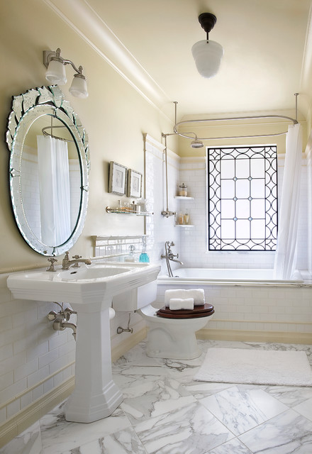 Leaded Glass Windows Bathroom Victorian with Accent Window Marble Floor