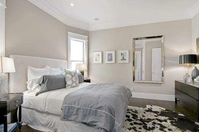 Leaner Mirror Bedroom Traditional with Cow Hide Crown Molding