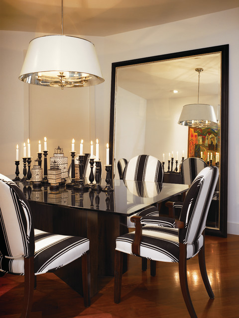 Leaning Floor Mirror Dining Room Traditional with Beige Wall Black And