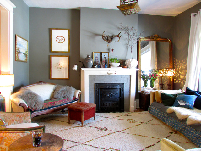 Leaning Floor Mirror Living Room Eclectic with Antlers Beige Patterned Rug