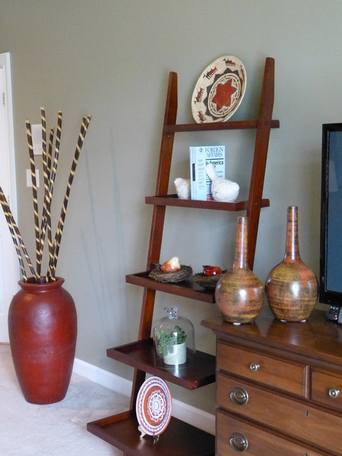 Leaning Wall Shelf Bedroom Eclectic with Aztec Basket Cloche Green