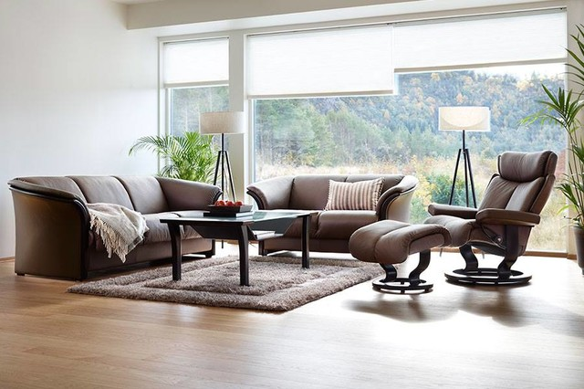 Leather Loveseat Living Room with Area Rug Ekornes Collection