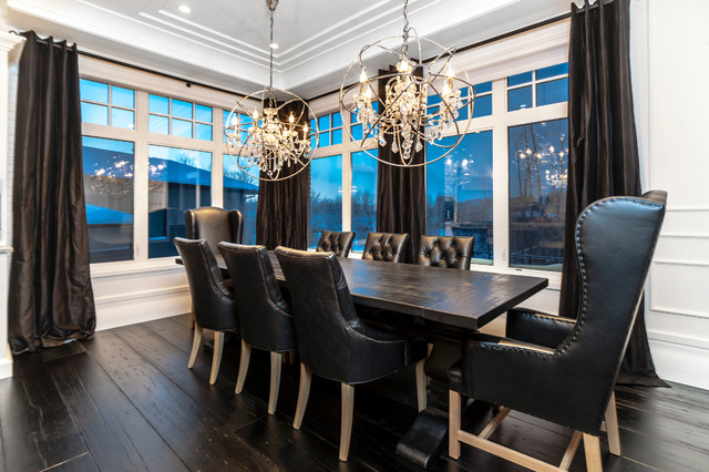 leather wingback chair Dining Room Transitional with black black leather dining