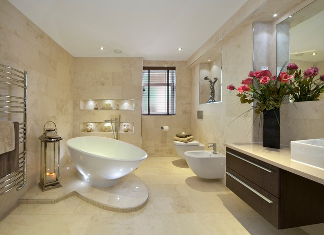 led taper candles Bathroom Contemporary with angled bath bidet floating