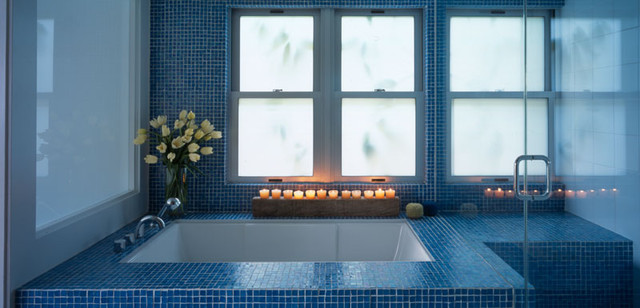 Led Taper Candles Bathroom Modern with Bath Bathroom Bathrub Blue