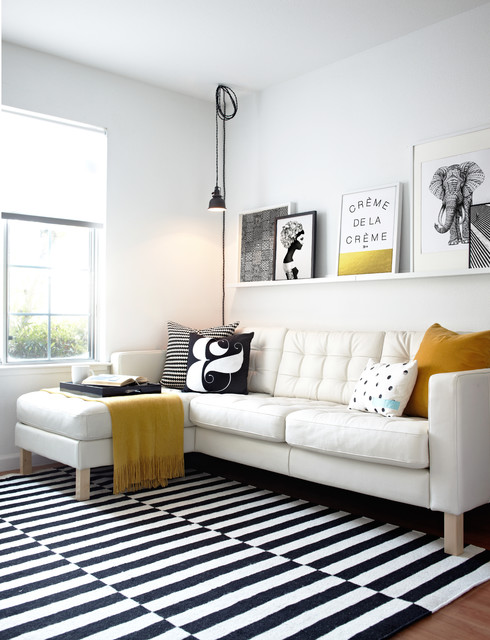 Ledge Shelf Family Room Scandinavian with Black and White Striped