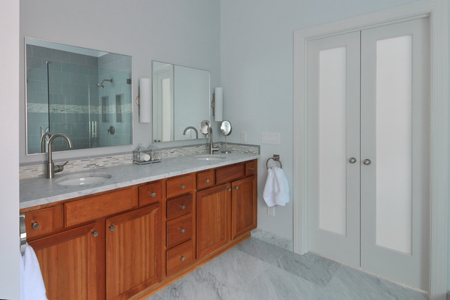lemieux doors Bathroom Traditional with double doors double sink