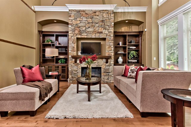 lennox fireplaces Living Room Traditional with archway beige chaise lounge