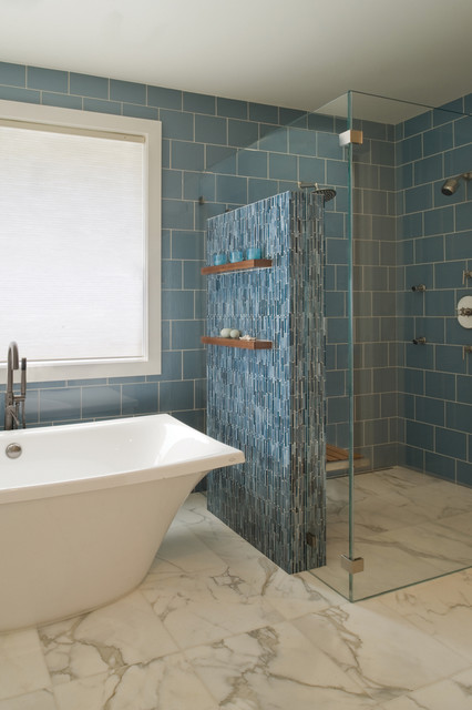 Levolor Cellular Shades Bathroom Contemporary with Bath Bathtub Blue Floating