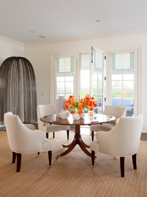 levolor shades Dining Room Transitional with beige area rug glass