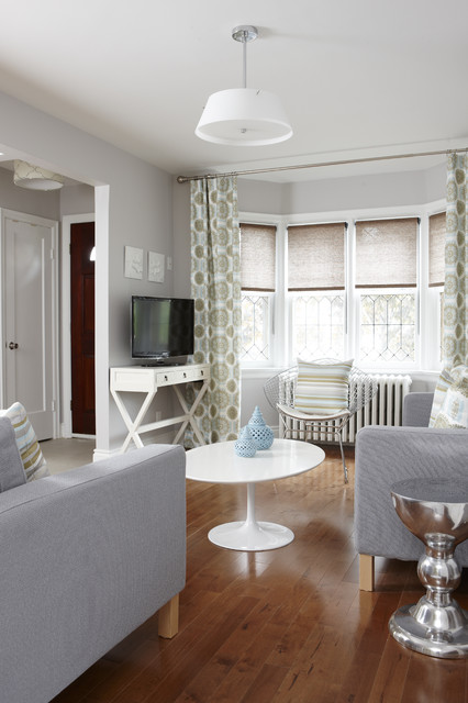 Levolor Shades Living Room Transitional with Bay Window Gray Armchair