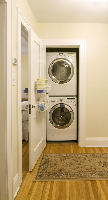 Lg Stackable Washer Dryer Laundry Room Contemporary with Baseboards Closet Laundry Room
