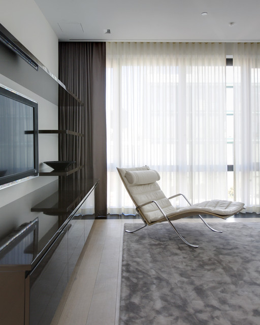 light blocking curtains Family Room Contemporary with black and grey black