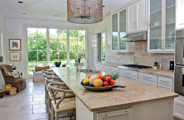 Limestone Countertops Kitchen Contemporary with Breakfast Bar Casual Living