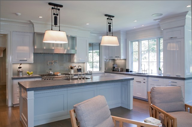 Limestone Countertops Kitchen Transitional with Crown Molding Frame And