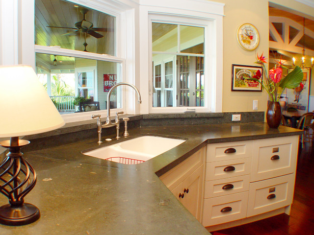 Limestone Countertops Kitchen Tropical with Bridge Faucet Corner Cabinets
