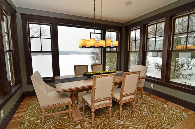 Linear Chandelier Dining Room Contemporary with Area Rug Baseboards Centerpiece