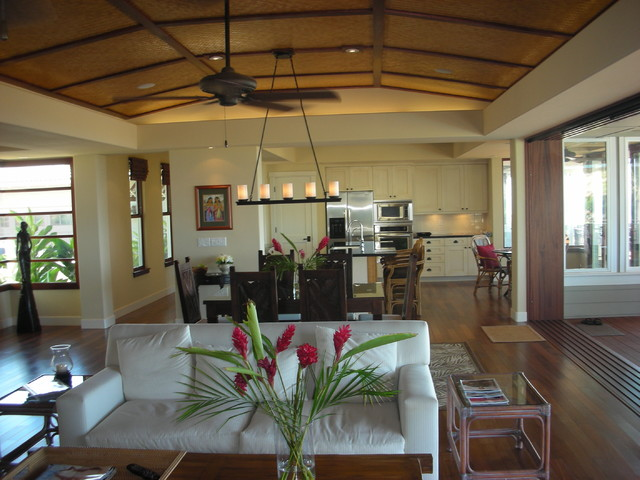 linear chandelier Dining Room Tropical with ceiling fan ceiling treatment