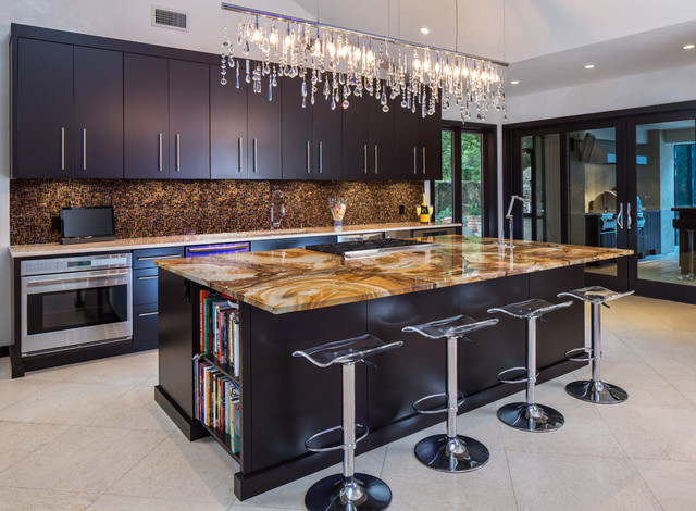 Linear Chandelier Kitchen Contemporary with Acrylic Counter Stools Beige