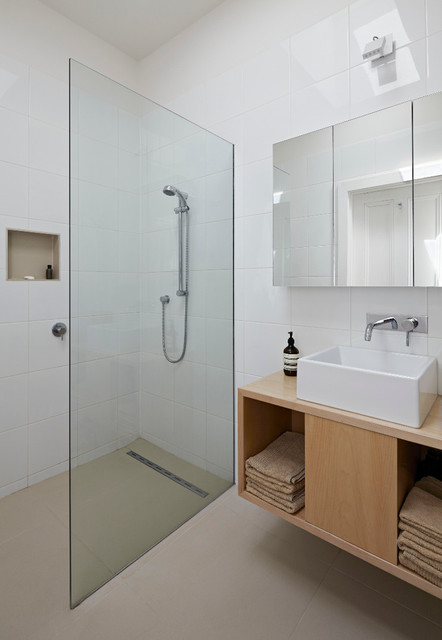 Linear Shower Drain Bathroom Contemporary with Beige Floor Glass Partition