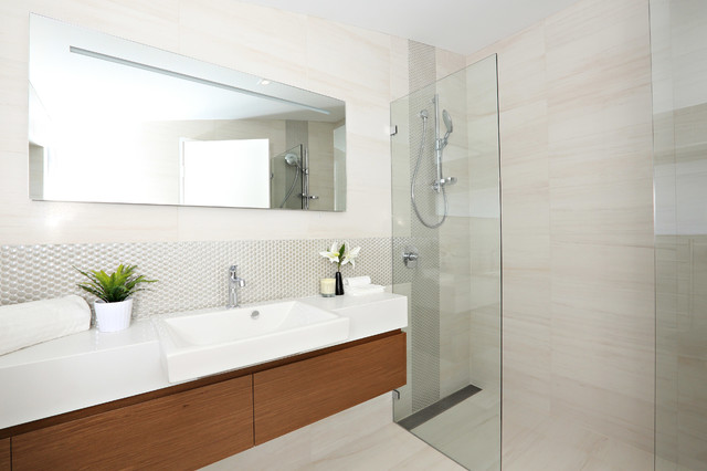 linear shower drain Bathroom Contemporary with floating vanity frameless glass