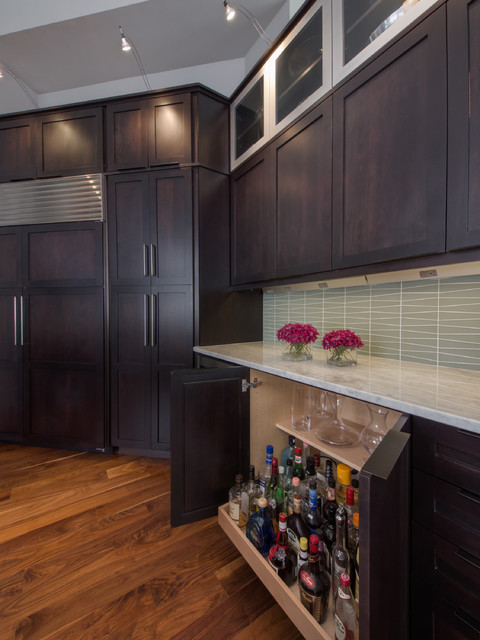 Liquor Cabinets Kitchen Contemporary with Bar Barware Dark Wood