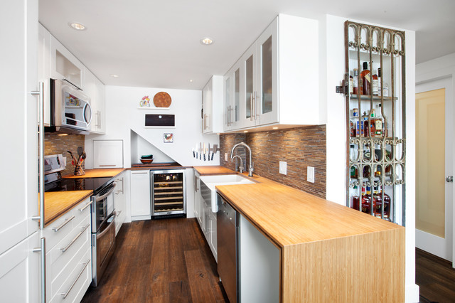 liquor cabinets Kitchen Transitional with appliance garage apron sink