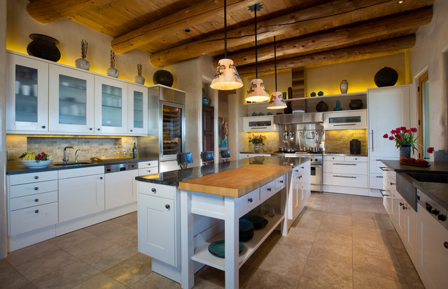 Locking Casters Kitchen Southwestern with Beamed Ceiling Beige Floor