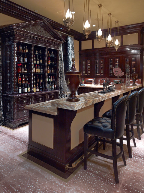Locking Liquor Cabinet Home Bar Traditional with Bar Pendant Lights Black