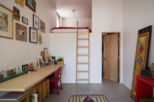 loft bed with desk underneath Home Office Contemporary with concrete floor frame collage