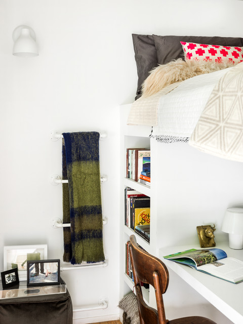 Lofted Bed Bedroom Eclectic with Apartment Art Bucktown Compact