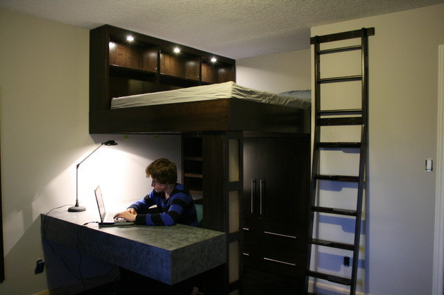 Lofted Bed Bedroom Traditional with 7 Year Old Boys