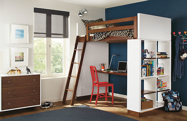 Lofted Bed Kids Contemporary with Bookcase Desk Bed Floor1
