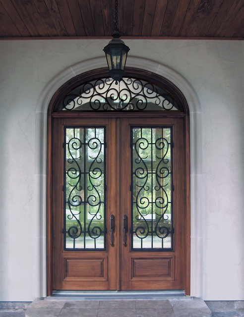 Loll Designs Entry Mediterranean with Custom Doors Door Wrought