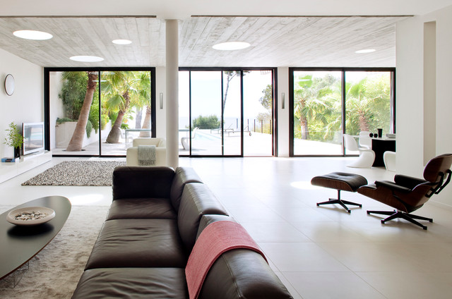 Lounging Chairs Family Room Contemporary with Architecture Contemporaine Beige Area