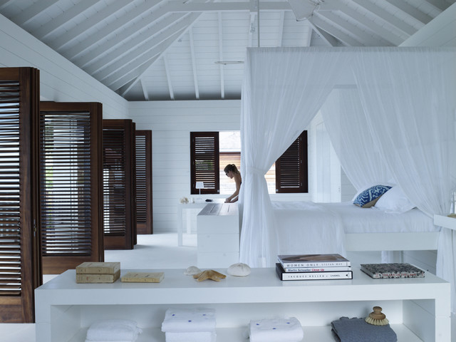 Louvered Doors Bedroom Tropical with Bright and Airy Dark