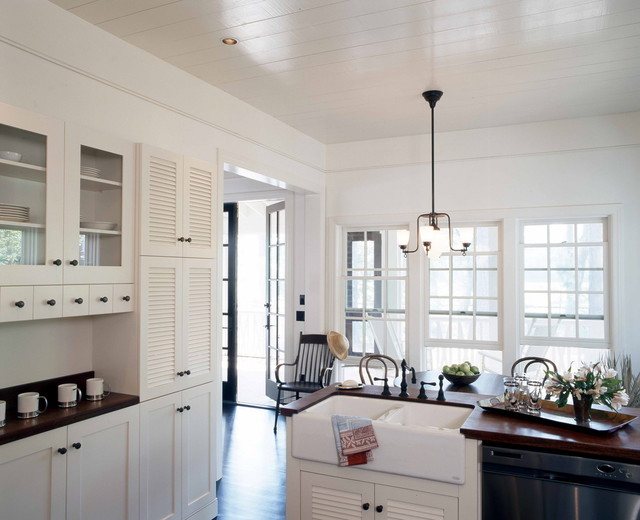louvered doors Kitchen Shabby-chic with apron sink country kitchen