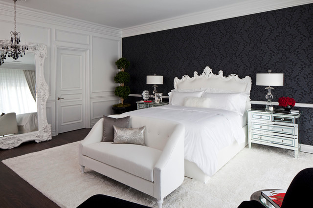 Loveseat Cover Bedroom Transitional with Bedside Lamps Black Wallpaper