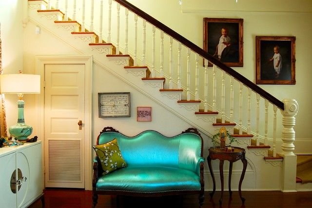 Loveseat Cover Staircase Victorian with Beige Railing Beige Stair