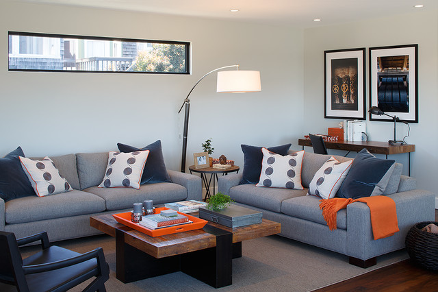 Loveseat Futon Family Room Contemporary with Arc Lamp Area Rug