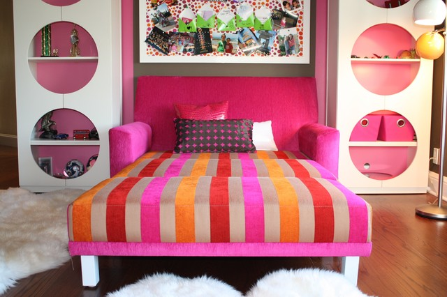 Loveseat Futon Kids Eclectic with Area Rug Bold Colors
