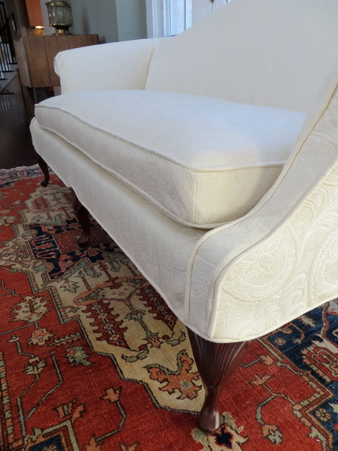 Loveseat Slipcovers Spaces Traditional with Exposed Legs Ivory Loveseat