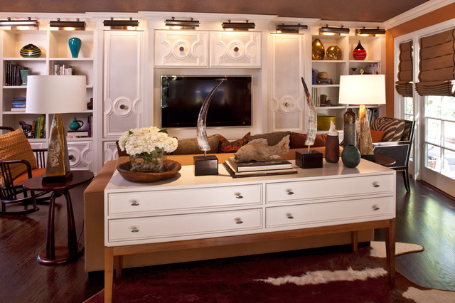 Low Bookcase Family Room Transitional with Bold Colors Built In