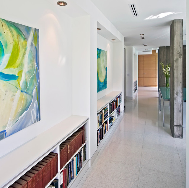 Low Bookcase Hall Modern with Art Lighting Artwork Bookcases