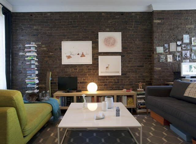 Low Bookcase Living Room Contemporary with Bookcase Bookshelves Brick Wall