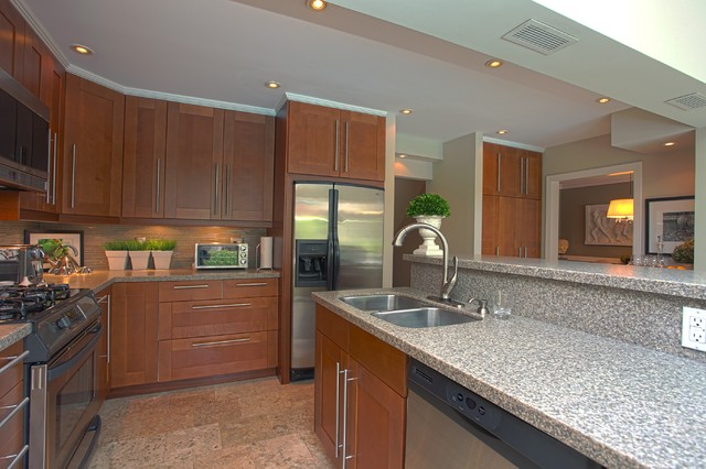 Lowes Granite Countertops Kitchen Contemporary with Beige Mosaic Tile Backsplash