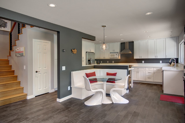 Lowes Laminate Flooring Kitchen Contemporary with Banquette Contemporary Design Dark