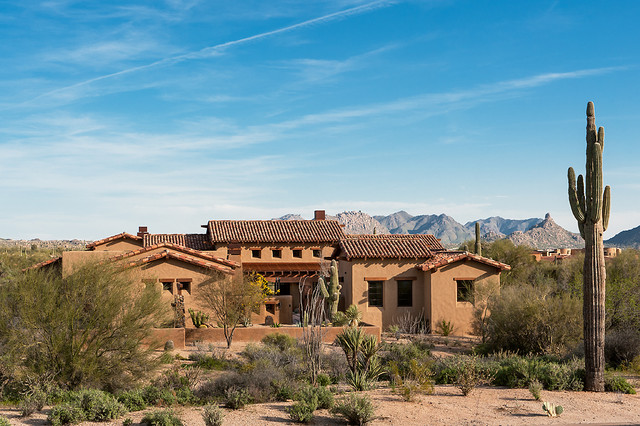 Lowes Scottsdale Exterior Southwestern with Clay Tile Roof Desert