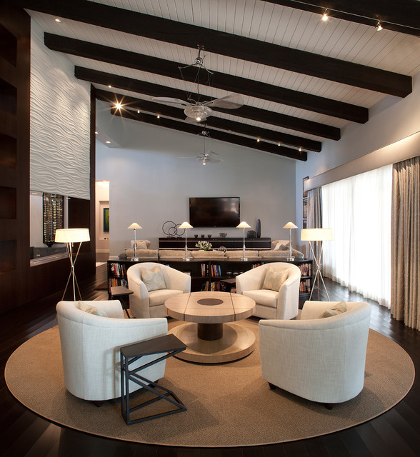 Lowes Scottsdale Living Room Contemporary with Beamed Ceiling Beige Area